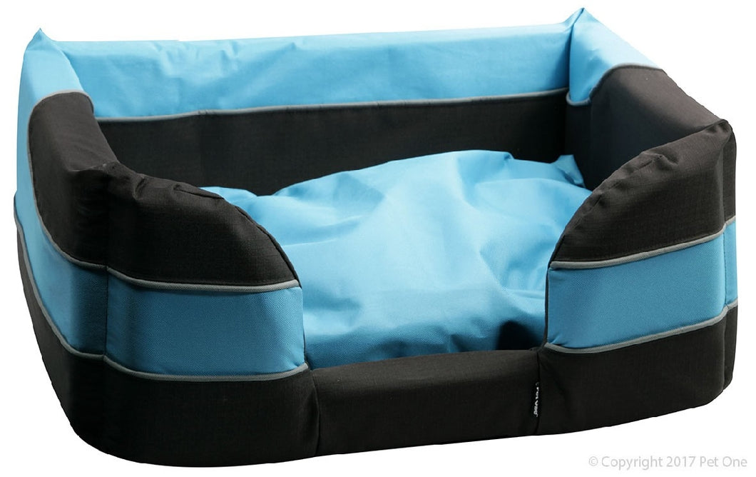 Pet One Bed Stay Dry Basket 85cm x 66cm x 31cm Black & Blue
