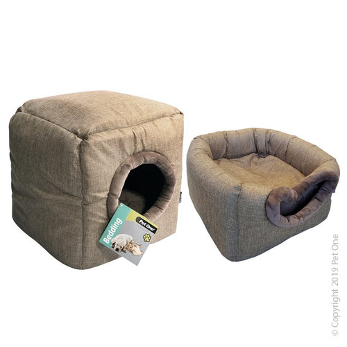 Pet One Cat Cubby Cube Linen 35x35x35cm Stone