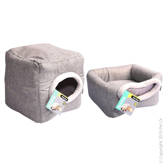 Pet One Cat Cubby Cube Linen 35x35x35cm Silver