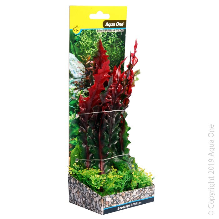 Aqua One Ecoscape Medium Ruffled Lace Plant Red