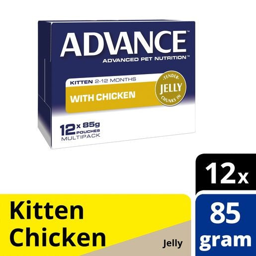 Pack of Advance Cat Kitten Chicken Jelly Pouch 85g