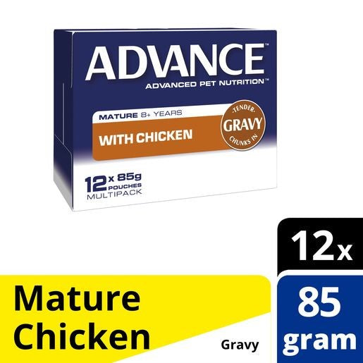 Pack of Advance Cat Mature Chicken & Gravy Pouch 85g
