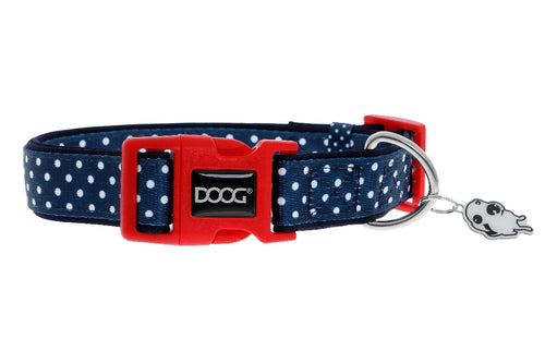 Doog Stella collar navy with white spots collar
