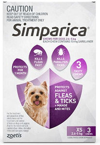 Simparica Purple - Extra Small 2.6-5Kg (3 Pack)