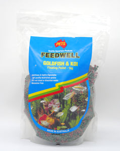 Feedwell Koi and Goldfish Pellets 1kg size baby