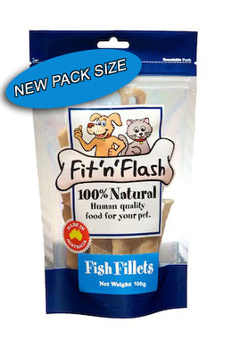 Fit 'n' flash fish fillets are made with human grade fish fillets, and containing a very low fat content of only 4%. 100gm pack now available!