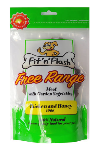 Fit 'n' flash Free Range meat with garden vegetables - chicken and honey, 100% natural!  100gm 4 PACK BULK BUY