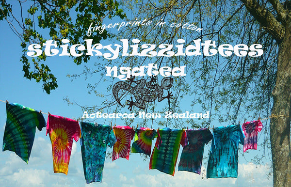 Tie dye clothing, New Zealand, stickylizzidtees unisex, men's, women's, baby, children's, bedding