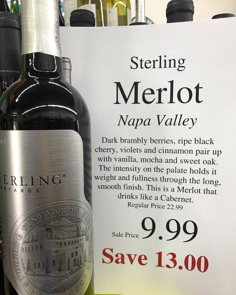 Sterling Napa Valley Merlot - Only $9.99 ( SAVE $ 13 ) - Only 36 bottles