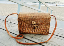 Beautiful Rectangle Rattan Bag with Batik Fabric Interior