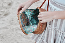 Beautiful Round Rattan Bag with Batik Fabric Interior
