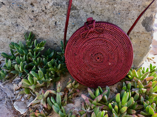 Beautiful Red Round Rattan Bag with Batik Fabric Interior