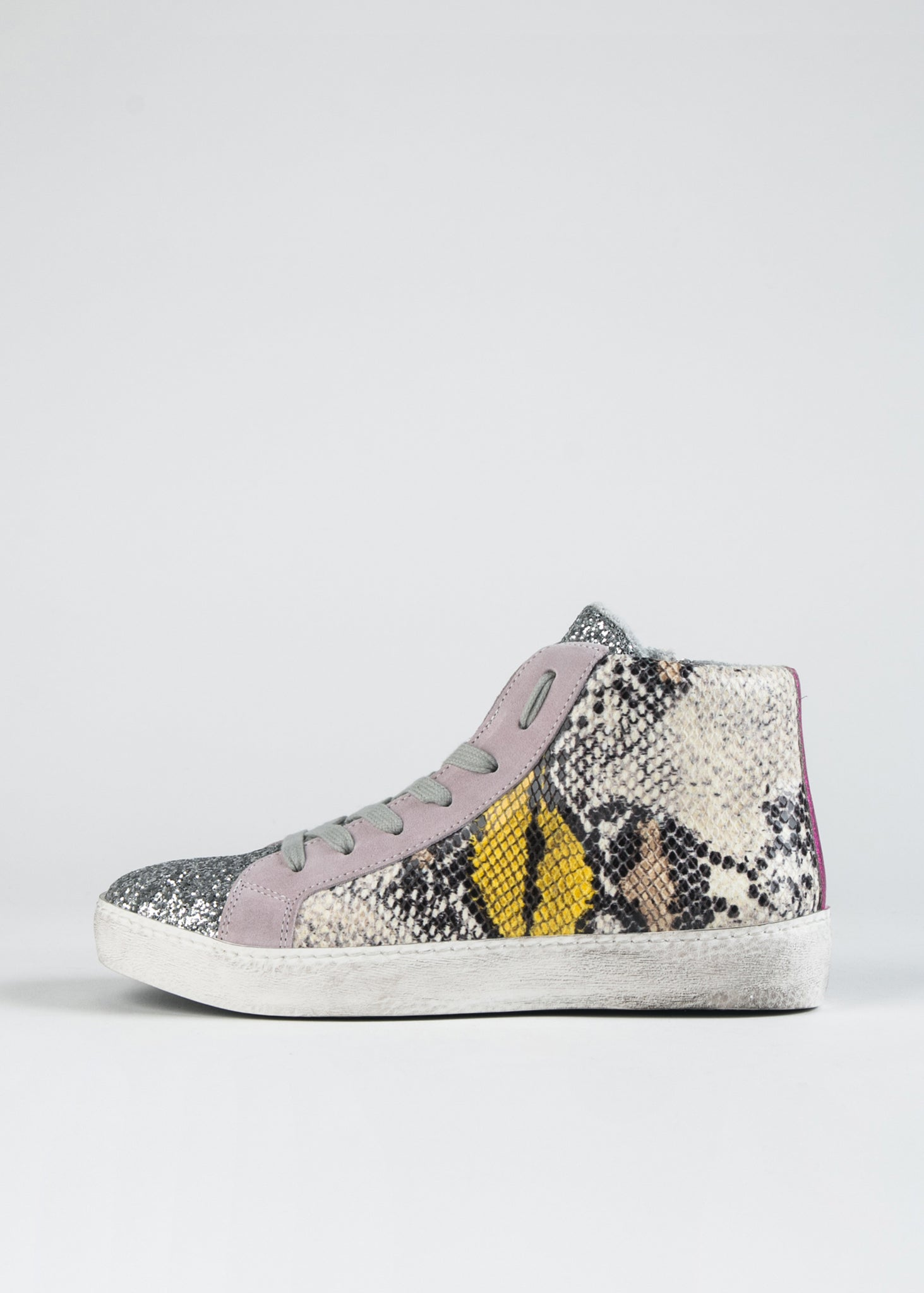 DISTRESSED SNAKESKIN AND GLITTER HIGH TOP SNEAKER