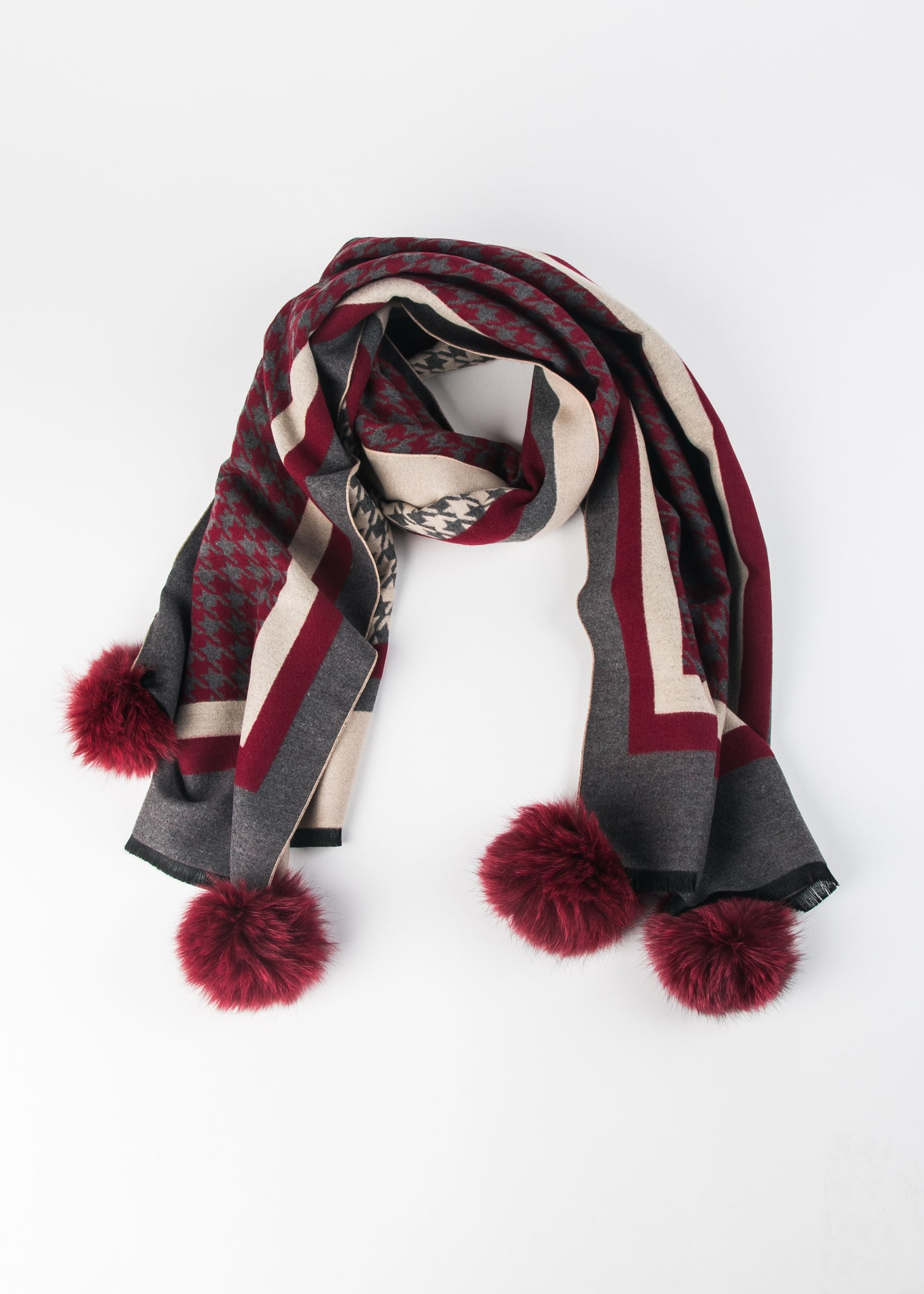 Scarf with Fur Poms