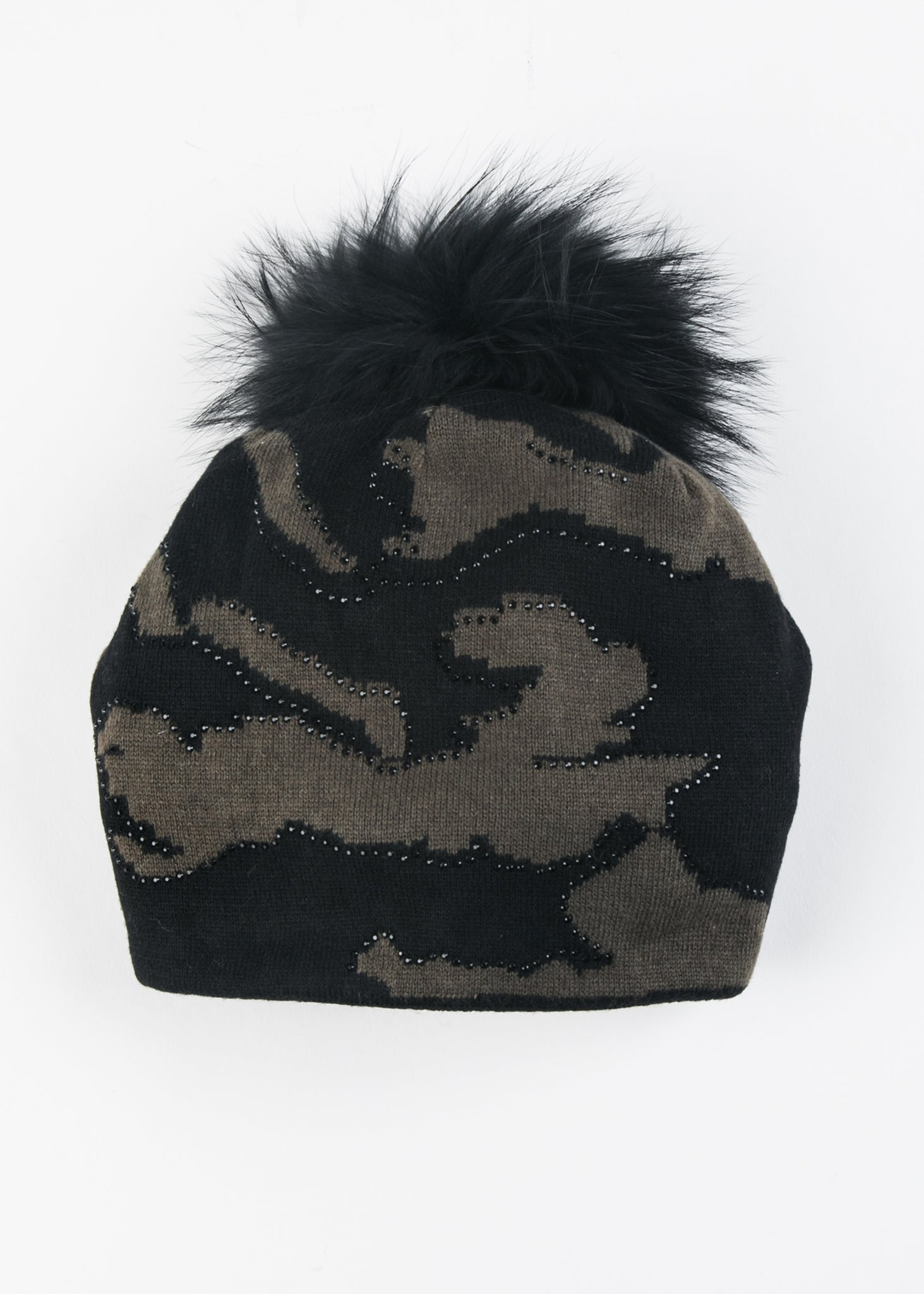 Knit Camo Beanie With Crystals