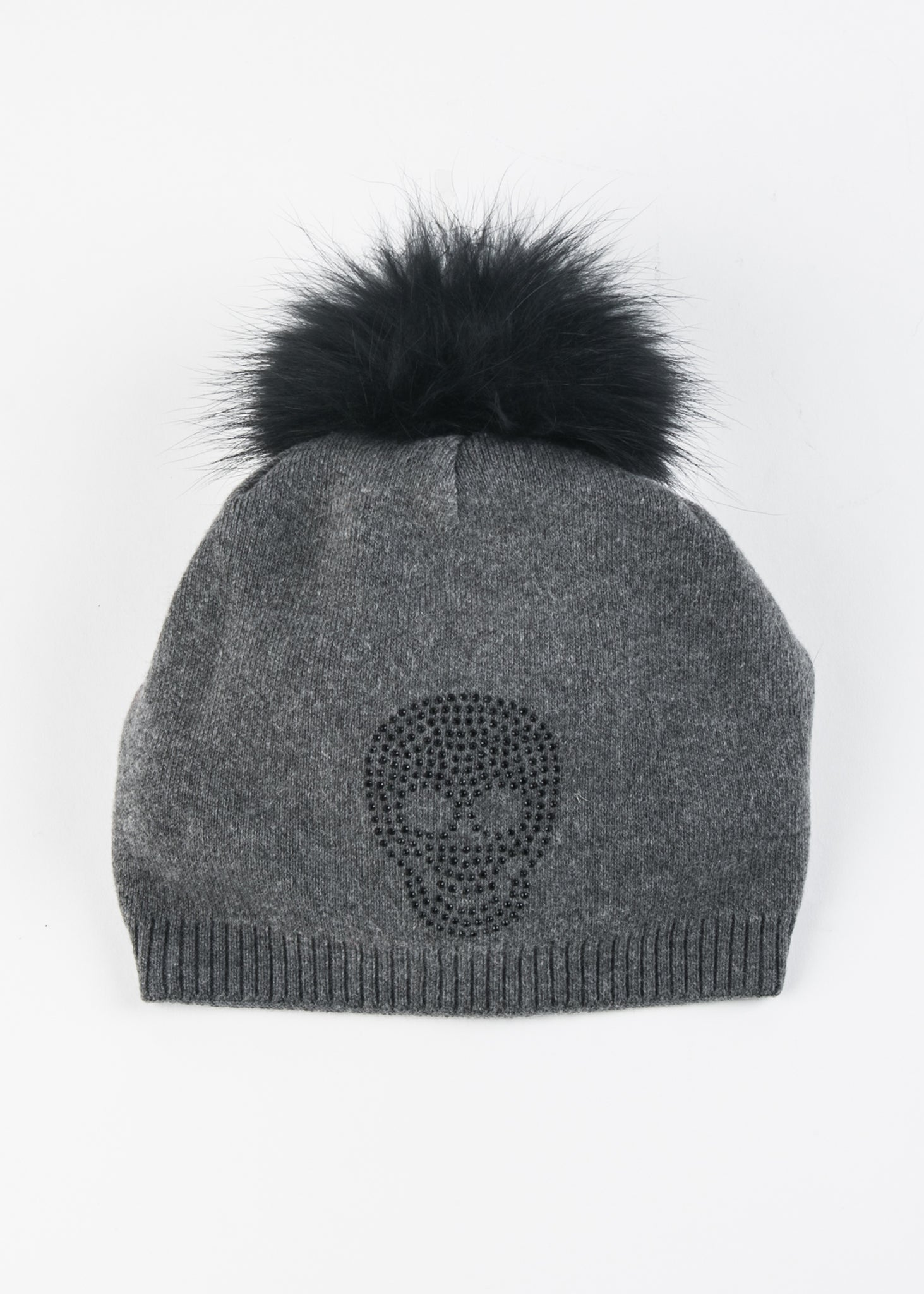 Knit Beanie With Crystal Skull
