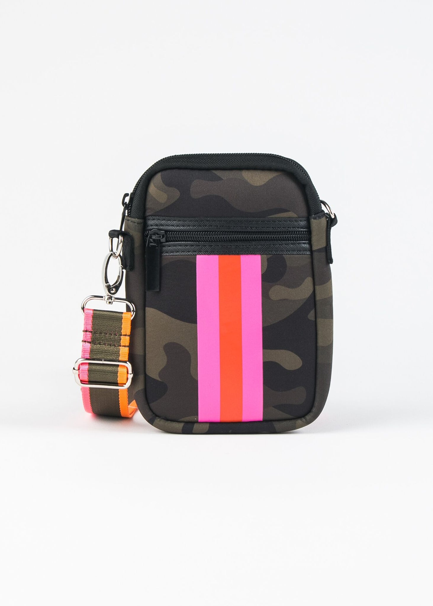 CASEY-2 NEOPRENE CELL PHONE CROSSBODY WITH STRIPE