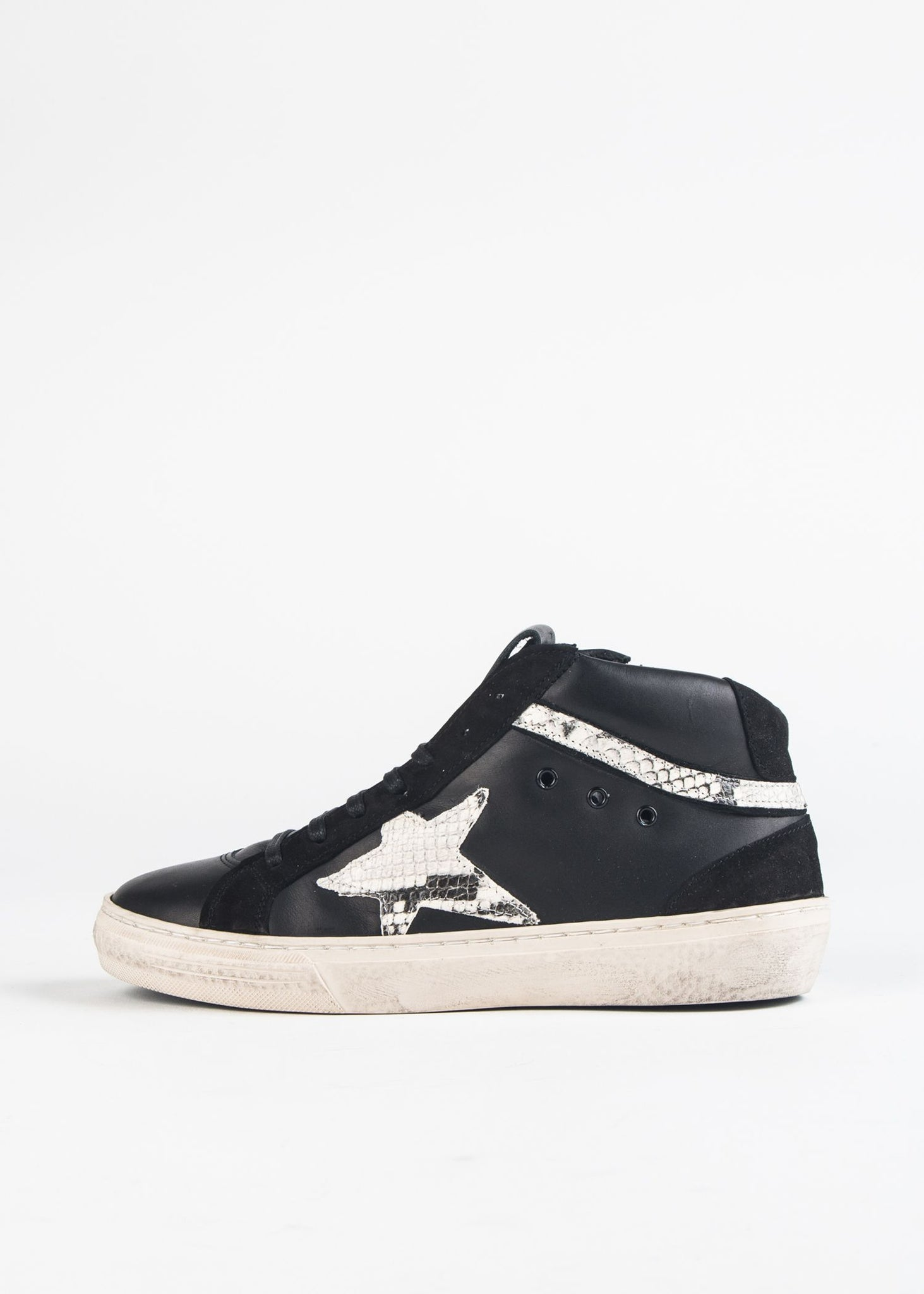 SNAKESKIN LEATHER HIGH TOP SNEAKER