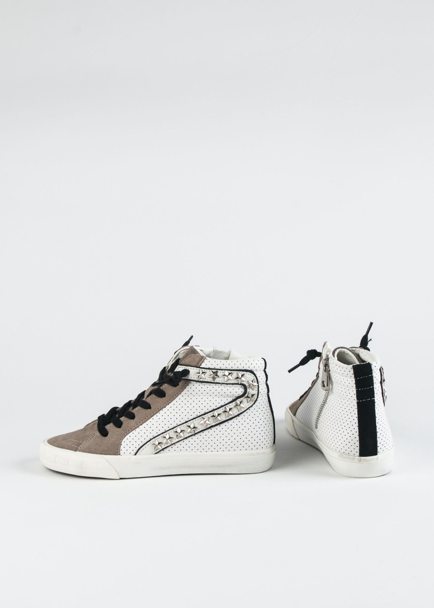GADOL-HIGH PERFORATED AND STAR STUDDED SNEAKER