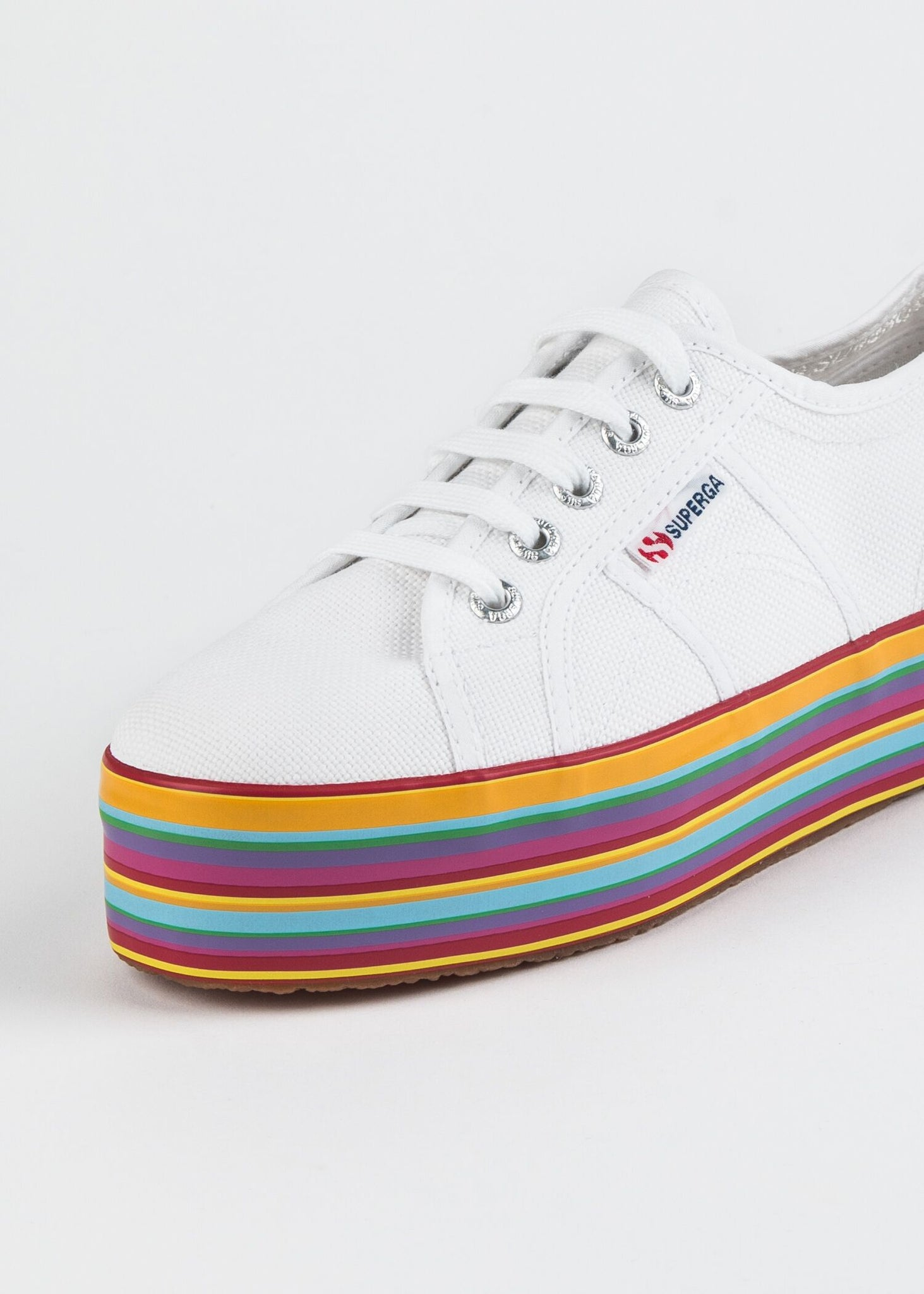 CANVAS LACE UP SNEAKER ON MULTI COLORED PLATFORM