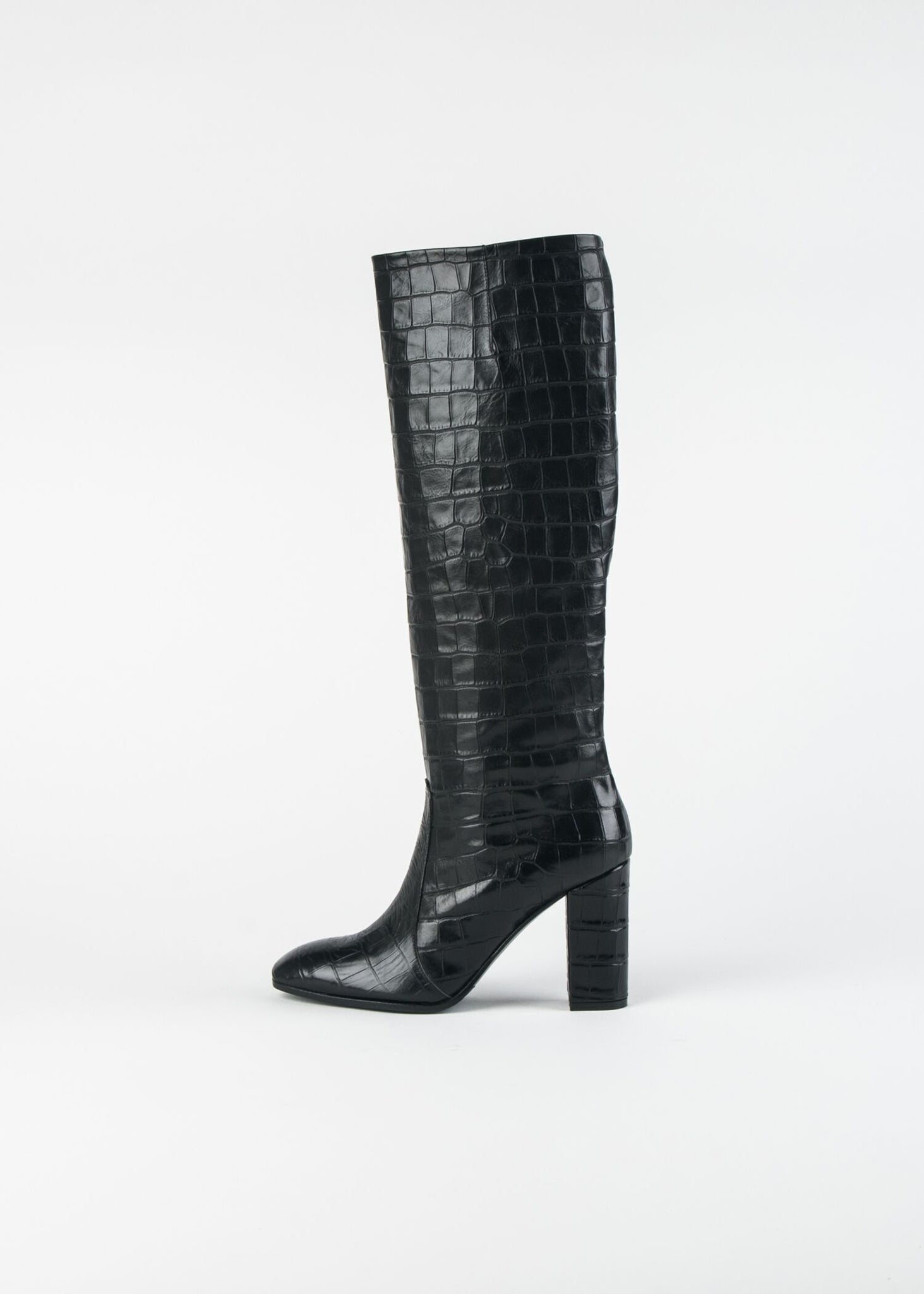 CROC EMBOSSED KNEE HIGH BOOT