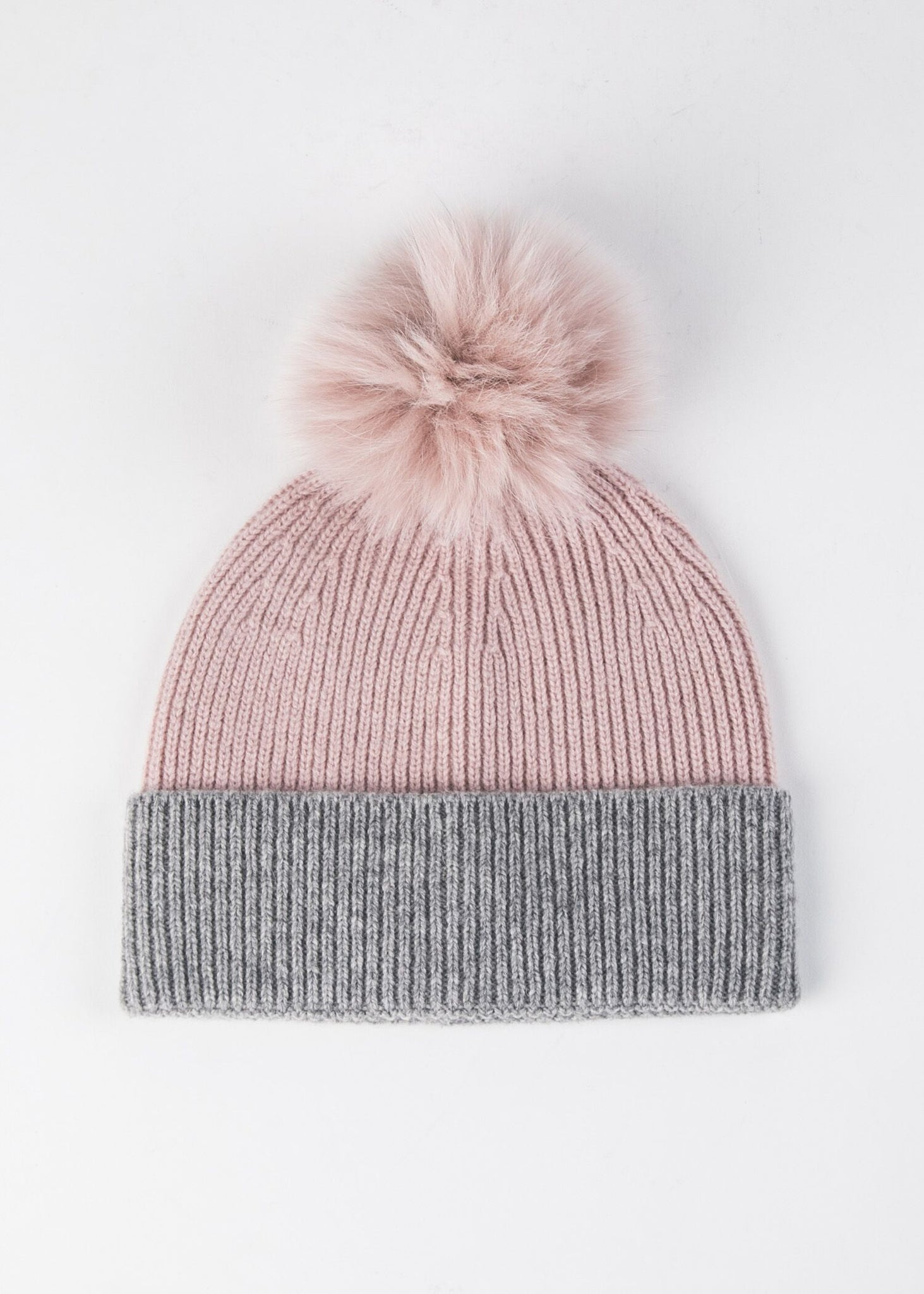 TWO TONE KNIT HAT WITH FOX FUR POM