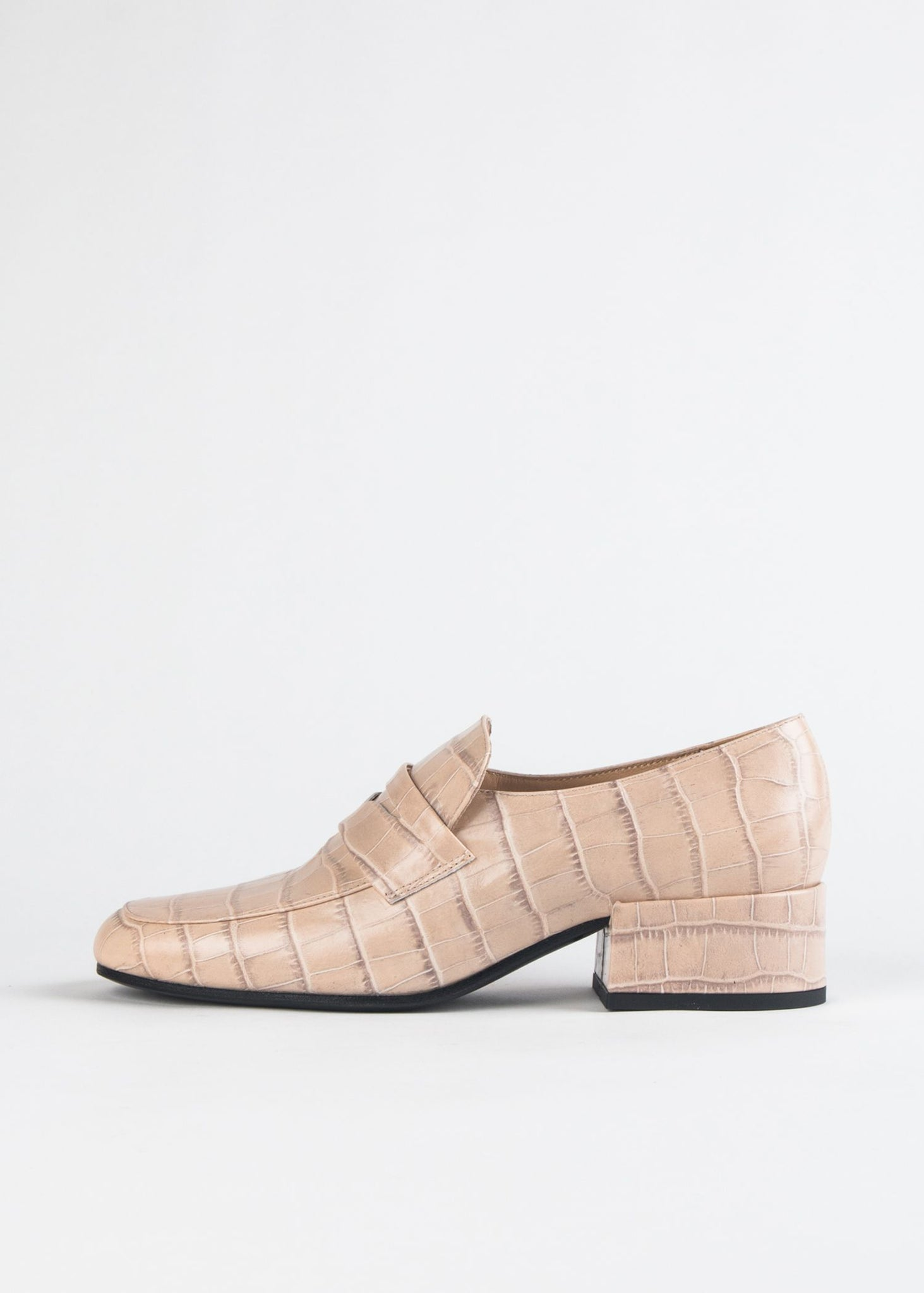 SQUARED TOE CROCO LOAFER