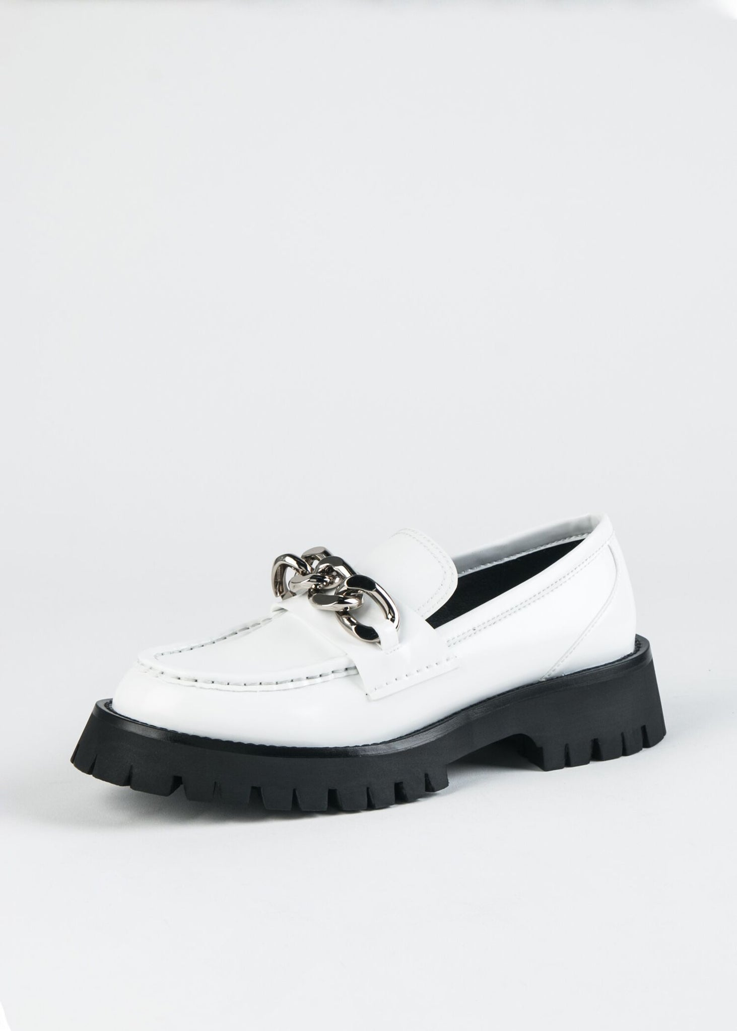 RECESS PLATFORM LUG SOLE LOAFER WITH DECORATIVE CHAIN
