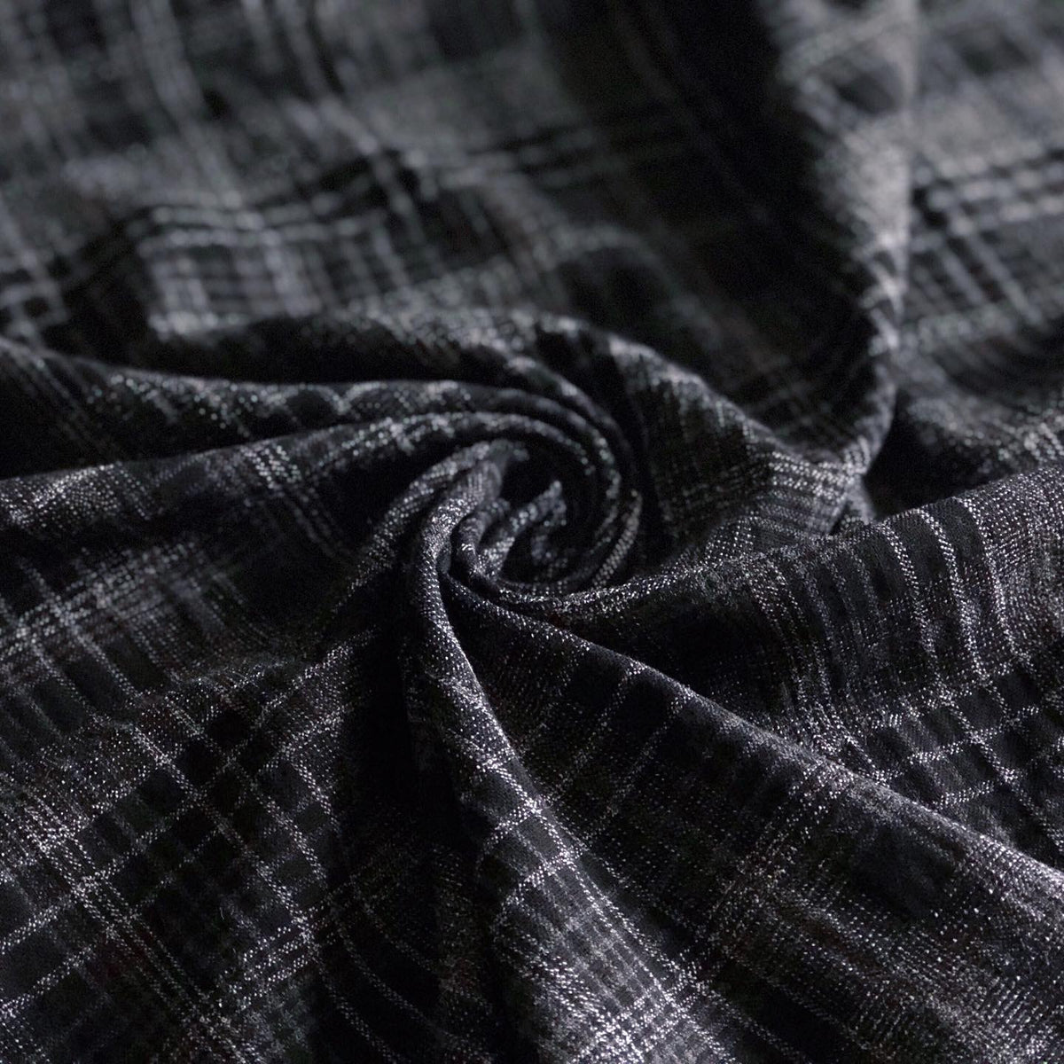 Black Check Viscose-Polyester Woven