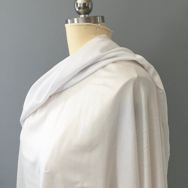 White Viscose Batiste with Asymmetrical Chevron Fabric by the Yard