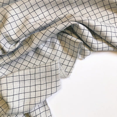 Black and Gray Windowpane Viscose Mix