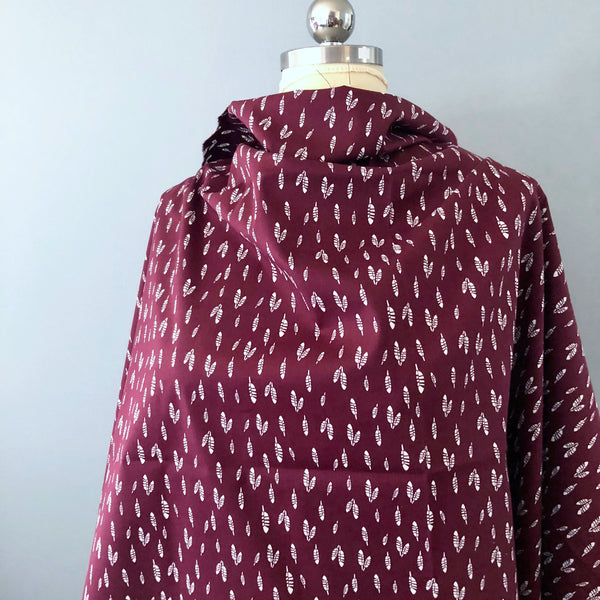 Oxblood Feather Print Poplin