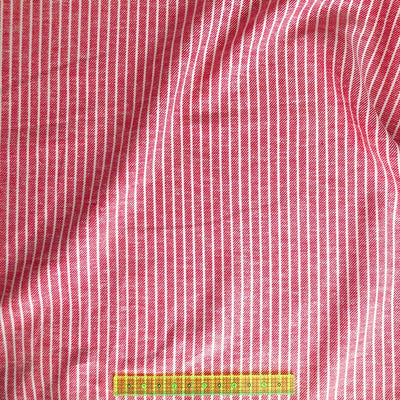 Red Linen Cotton Rayon Railroad Stripe