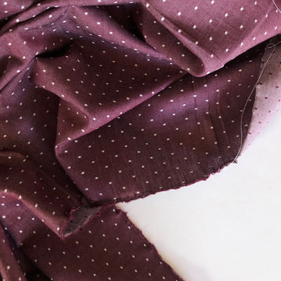 Burgundy Cotton Chambray Dots