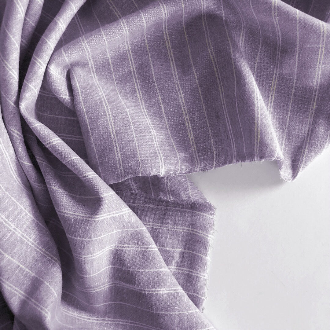 Plum Striped Cotton Hemp Woven