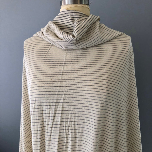 Sol Angeles Cream and Gray Pucker Stripe Knit