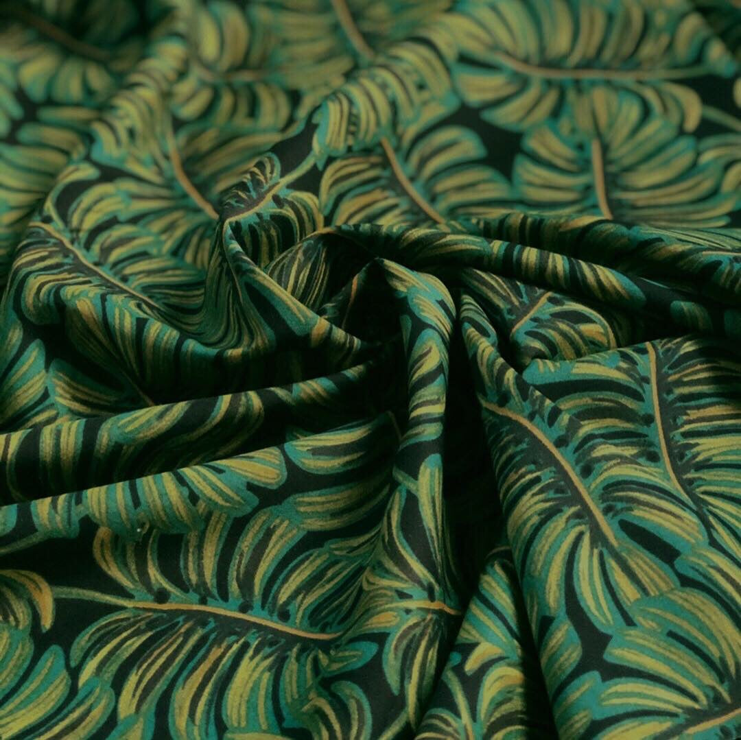 Cotton + Steel Dark Monstera Fern Rayon Lawn