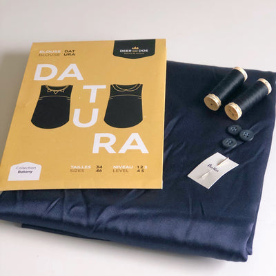 Blouse Boxes - Navy Viscose Satin Datura Blouse