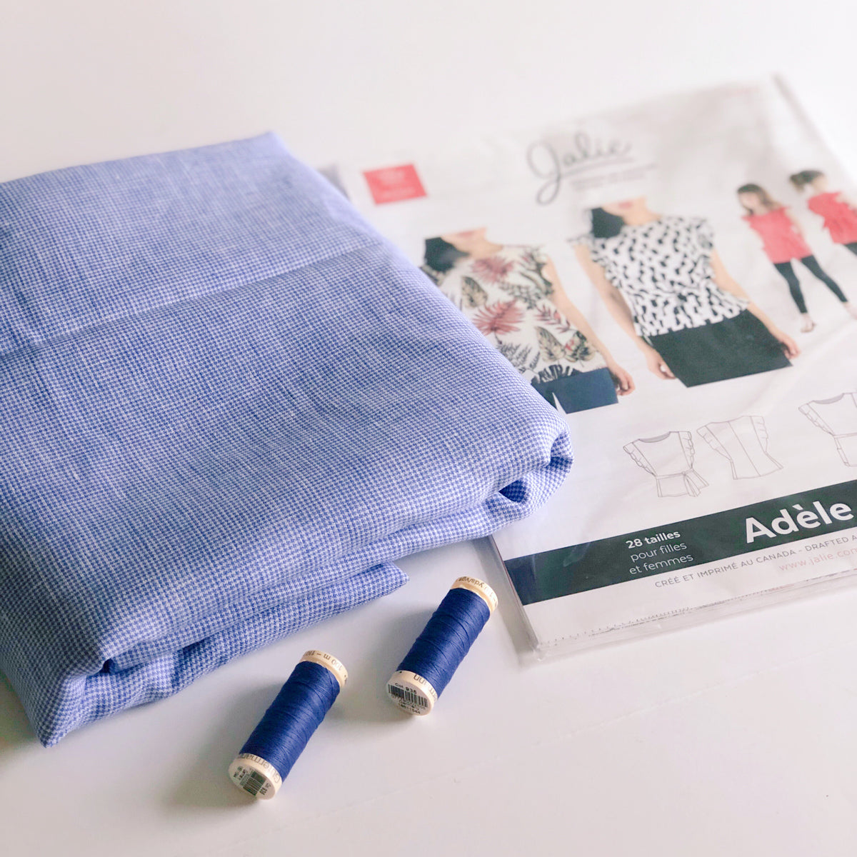 Blouse Boxes - Blue Check Umbria Linen Flutter Sleeve Top