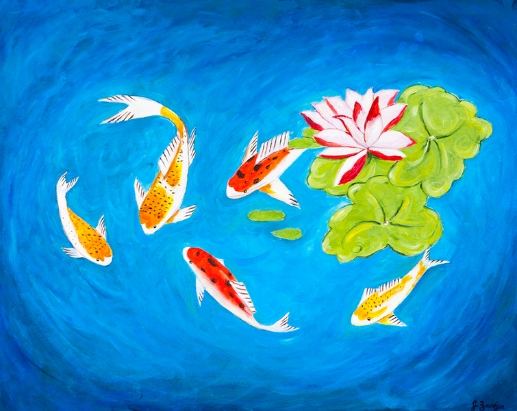 Koi Fish Painting - Feng Shui Collection