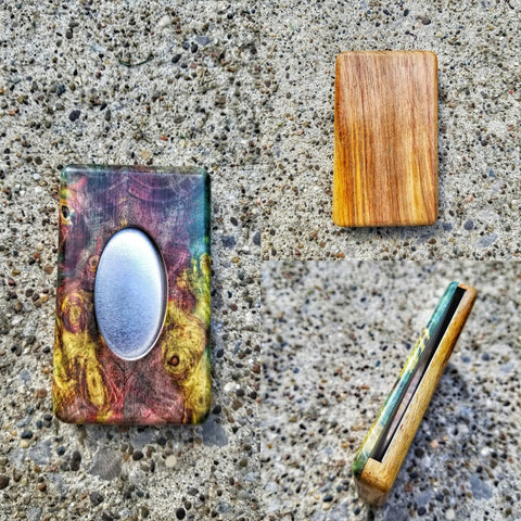 The Essential Wallet (Multi dyed stabwood and Canarywood)