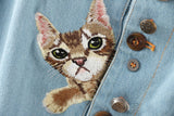 Cats Embroidery Jean