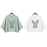 New 2017 Women's Fashion Loose T Shirt O-Neck Solid White/Green T-Shirts