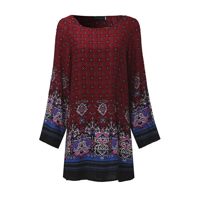 Ethnic Print Mini Dress