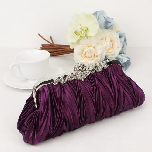 Satin Crystal Clutch Bag
