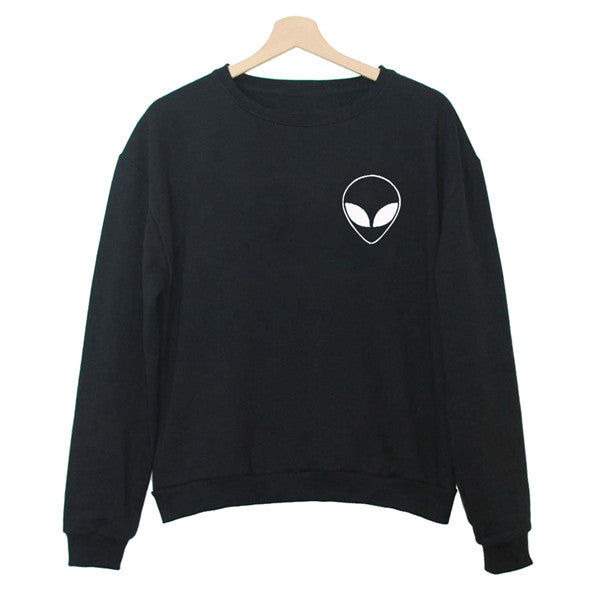 Alien Black White Hoody Sweatshirt