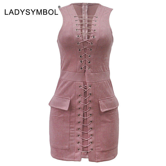 Lace Up Slim Dress