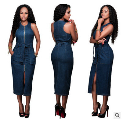 Sleeveless Denim Sexy Club Dress
