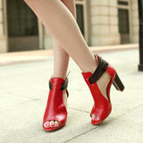 Leather High Heels Sandals