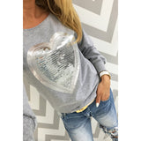 Heart Sequin O-Neck T-shirt